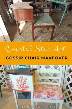 Chair Makeover, Furniture Makeover, Cool Furniture, Painted Furniture, Refurbished Furniture, Furniture Ideas, Furniture Refinishing, Antique Furniture, Vintage Telephone Table