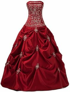 New Burgundy Embroidery Evening Dress Prom Ball Party Gown Size:6,8,10,12,14,16