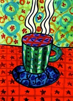 Funny cups painted with tempera! This is a good exercise to learn how many textures you can paint with tempera colours, and how many wa. Winter Art Projects, School Art Projects, School Ideas, Kindergarten Art Lessons, Art Lessons Elementary, Creative Arts Therapy, First Grade Art, Cup Art, Principles Of Art