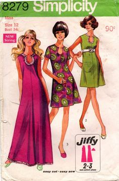 1960s Simplicity 8279 Caftan Mini, Dress or Maxi Vintage Sewing Pattern Size 12 Bust 34 inches