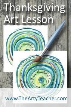 Thanksgiving Art Lesson or Gratitude Spiral - The Arty Teacher