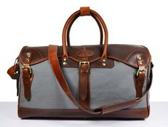 Genuine Leather canvas Travel Bag Weekend by DelphiLeatherIndia