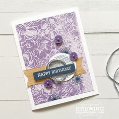 From Leah @ellefedynak - I took the opportunity to use the 2019-2021 In Color DSP in Purple Posy (since it is retiring soon) and stamp over it with a background stamp in Highland Heather. I also used the new Natural Touch DSP as a contrast with the purple and Misty Moonlight. Created with 2019-2021 In Color DSP (153071), Natural Touch Specialty (156825), Wild Roses (154363), Circle Celebration (154440), and Blossoms In Bloom (158283). Take The Opportunity, Bloom, Fancy, Purple, Viola