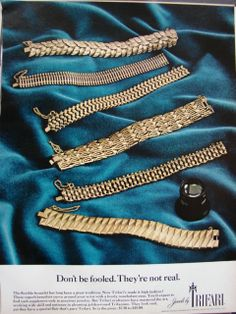 Trifari jewelry ad ''Don't be fooled. They're not real''