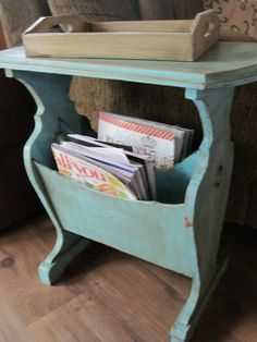 Stunning 36 Attractive Diy Magazine Rack Design Ideas That You Will Like It. Wooden Magazine Rack, Magazine Table, Wood Magazine, Magazine Racks, Refurbished Furniture, Repurposed Furniture, Painted Furniture, Metal Furniture, Furniture Projects