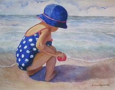 Beach Girl with Polka Dots, Watercolor #Painting. This fine art print of my original watercolor painting will brighten up any  room, your vaction home at the shore. © 2012 by Barbara Rosenzweig, matted art print 11x14 $34 Free Shipping US, other sizes available Etsy.