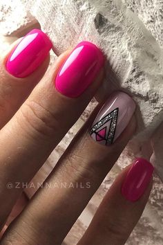 78 Hot Pink Nails Art Designs,Can Be Used In Almost All Occasions - - . 78 Hot Pink Nails Art Designs,Can Be Used In Almost All Occasions - - nails ideas short Accent Nail Designs, Square Nail Designs, Nail Art Designs, Nails Design, French Manicure Nails, Pink Manicure, Hot Pink Nails, Pink Nail Art, Pink Summer Nails