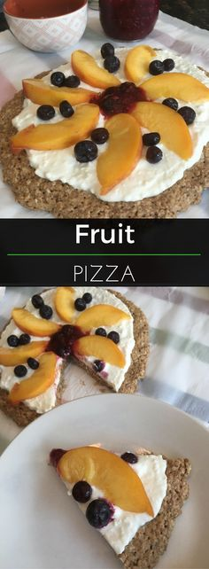 This healthy fruit pizza recipe is made with all-natural, organic ingredients. The crust is an oatmeal based dough and the creamy topping is Greek yogurt mixed with whipped cream cheese and honey! YUM! #Organic #EatClean #Nutritionist | Clearly Organic Nutritionist Corner