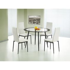 Heartlands Furniture Acodia PU Chairs with White PU & Black Frame Round Dining Room Sets, Oak Dining Room, Dining Room Furniture, Dining Set, Dining Chairs, Glass Table Set, Glass Dining Table, Compact Furniture, Extendable Dining Table