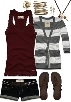 Maroon tank top with grey  white striped cardigan, denim shorts, and flip flops #summer #outfits