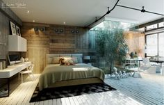 Not sure how many homes would be able to pull this off but boy does it look cool to have a tree near your bed!