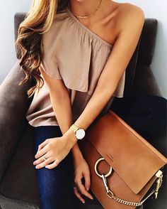 A great date or even day informal appt outfit--an off the shoulder top with dark jeans and a Chloe messenger bag.
