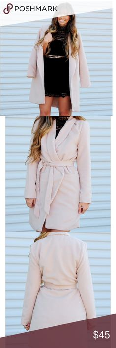Boutique Cream Jacket Such a beautiful coat, but too big for me😭... Perfect dress coat for a night out... Polyester/viscose with a polyester lining... Tie waist.. Cream colored twelve by ontwelfth Jackets & Coats