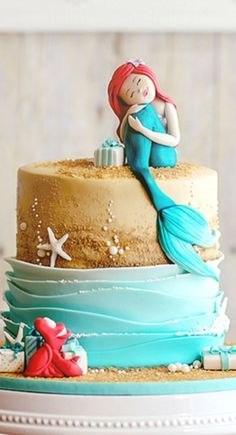 Inspired Image of Little Mermaid Birthday Cakes Little Mermaid Birthday Cakes Ariels Gift Campbells Third Birthday Mermaid Party Birthday Little Mermaid Cakes, Mermaid Birthday Cakes, Cake Birthday, Third Birthday, Birthday Cakes For Kids, Happy Birthday, Birthday Ideas, Sirenita Cake, Fete Marie