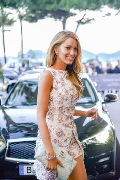 Blake Lively always in style with chanel clutch and adorable dress