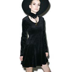 Kill Star Pussycat Velvet Skater Dress ($65) ❤ liked on Polyvore featuring dresses, circle skirt, long sleeve velvet dress, scoop neck dress, velvet skater dress and velvet mini dress