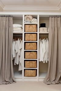 Tempting to remove the closet doors and replace with curtains to give the room a more retail store dressing room feel Closet Bedroom, Closet Space, Walk In Closet, Bedroom Storage, Home Bedroom, Bedroom Decor, Bedrooms, Ikea Closet, Master Closet