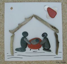 AWAY in a MANGER Pebble Driftwood Stone Pottery by DengraDesigns