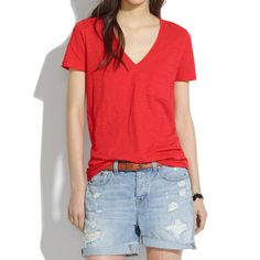 Madewell Slub V-Neck Pocket Tee, $25. Cheaper than an Alexander Wang tee!!! I'd want a white, grey, black, and red. I'd like their tank tops too, and in those same aforementioned colors. I'd like a shirt that is soft, a bit loose, and not too fitted, especially on the tummy area. Please and thank you!!!