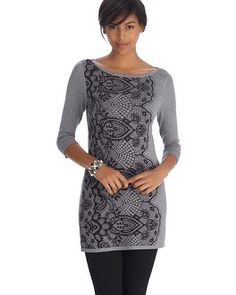 Long tunic style pullover gets a touch of modern femininity in bold printed lace down the right side. Bateau neckline, 3/4 sleeves and plenty of stretch for added comfort.