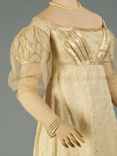 1820s Ivory silk damask evening dress. Collection of the Kent State University Museum 1983.1.34