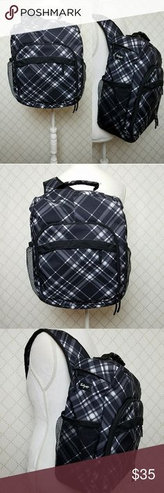 "THIRTY ONE Plaid ""Organizer"" One Strap Backpack Black/white plaid backpack with single padded adjustable sling-style strap; Mesh outer side pockets; Large outer zip pocket opens to large interior with great storage and padded inner pocket; Top handle; 17"" x 17""; Excellent condition! THIRTY ONE Bags Backpacks"