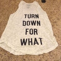 Super fun workout tank! Turn Down for What!!! Extra stylish workout tank. White with grey speckles. Only worn once and now doesn't fit. Bundle with other workout tanks and I will give an extra discount!! Mighty Fine Tops Tank Tops