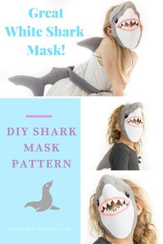 Shark mask sewing pattern.  Great costume idea for halloween, book week or Australia day.  Make a few and use them as party favors that the kids will treasure for years!