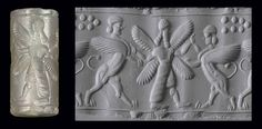 A NEO-ASSYRIAN CHALCEDONY CYLINDER SEAL   CIRCA 8TH-7TH CENTURY B.C.   Engraved with a winged bearded genius standing between two rearing winged sphinxes, with seven globes above, a line border above and below  1 in. (2.5 cm.) long