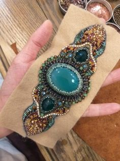 At the seaside I wanted to exhibit you making a bracelet with natural stone and leather thread with video. Bead Embroidered Bracelet, Embroidery Bracelets, Beaded Cuff Bracelet, Bead Embroidery Jewelry, Beaded Embroidery, Folk Embroidery, Beadwork Designs, Beaded Jewelry Designs, Bead Jewellery