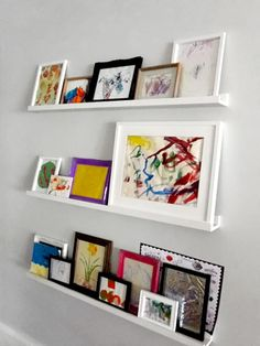 Art Journal Pages, Dark Beauty, Displaying Childrens Artwork, Childrens Art Display, Artwork Display, Display Wall, Display Shelves, Book Shelves, Sweet Home