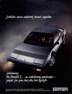Vintage Car Advertisements of the (Page Ferrari Mondial, Nostalgia, F12 Berlinetta, Car Advertising, Old Ads, Car Manufacturers, Retro, Vintage Ads, Classic Cars