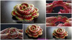 Crochet 3D Rose Flower In Bloom Free Pattern: Crochet Rose Flower Pattern for Beginners, 3D Rose with Edging, Colorful Rose Crochet Ideas