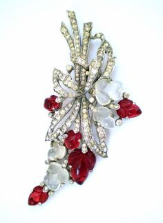 "EXTRA LARGE TRIFARI Ruby & Moonstone ""Tutti Frutti"" FRUIT SALAD FUR CLIP 3 3/8"""