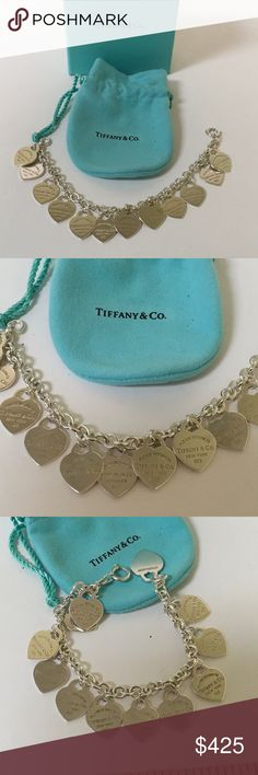"Return To Tiffany Multi-Heart Bracelet Up for sale is a preowned Return To Tiffany Multi-Heart Bracelet in excellent condition with original box and pouch.  The bracelet measures 7 1/2"" (Tiffany die Large) with (12) 16mm hearts.  Heart #1 is marked Return To Tiffany I'm the front and hallmarked T & Co A925 on the back. The rest of the hearts has Return To Tiffany on the front and back sides. The clasp is also marked T & Co. AG925. authentic. Tiffany & Co. Jewelry Bracelets"