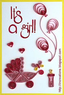 quilling card for babygirl