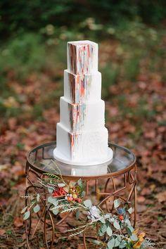 Epic Modern Art Inspired Wedding Cake   Sarah Street Photography on @tidewatertulle via @aislesociety