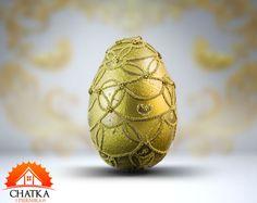 Złota pisanka ręcznie robiona - Koronka Easter Eggs, Etsy