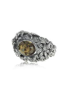 Ugo Cacciatori  Smoky Quartz and Sterling Silver Foliage Solitaire Ring