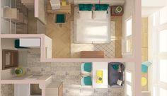 Специально для читателей InMyRoom дизайнер Ольга Бондарь рассмотрела три варианта планировки однокомнатной квартиры общей площадью 34,8 квадратных метров для разных типов жильцов
