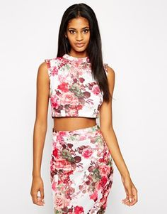 Vesper Co -Ord Floral Printed Scuba Crop Top with High Neck