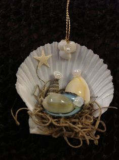 This Seashell Manger Scene Christmas Nativity Ornament is sure to be a favorite. This handmade Nativity Manger Scene Ornament was made here at Sea Things in V Nativity Ornaments, Christmas Nativity Scene, Nativity Crafts, Christmas Makes, Xmas Ornaments, Christmas Crafts, Nativity Sets, Sea Crafts, Seashell Crafts