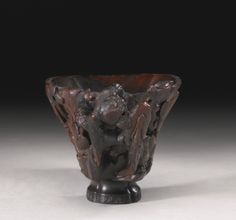 A RHINOCEROS HORN 'TREES AND ROCKS' LIBATION CUP 17TH / 18TH CENTURY - Sotheby's
