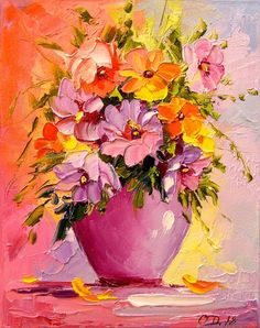 Buy A bouquet of flowers in a vase, Oil painting by Olha Darchuk on Artfinder. Discover thousands of other original paintings, prints, sculptures and photography from independent artists. Flowers In Vase Painting, Acrylic Painting Flowers, Abstract Flowers, Watercolor Paintings, Original Paintings, Flower Vase Drawing, Flowers Vase, Easy Canvas Art, Guache