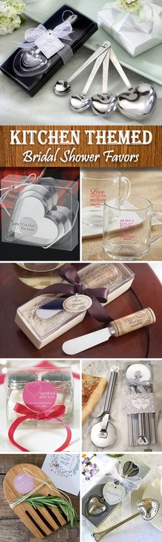 Having a kitchen or around the clock bridal shower? Check out these fun favor ideas!