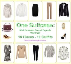 Outfit Posts: one suitcase: mini business casual capsule wardrobe 10 Pieces 11 Outfits