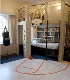 This room could work into the high school age for a boy, right? 40 Cool Boys Room Ideas - Style Estate - << just boys? I'd take that room in a heart beat! Cool Boys Room, Boys Room Ideas, Nice Boys, Room Kids, Tomboy Room Ideas, Cool Rooms For Teenagers, Cool Beds For Boys, Boys Bedroom Ideas 8 Year Old, Adult Room Ideas