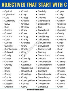 Adjectives that Start with C: List of 190+ Adjectives Starting with C in English