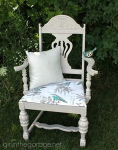 """A vintage chair makeover: boring brown to beachy birds. Themed Furniture Makeover Day- see 9 """"numbers"""" themed furniture makeovers.  girlinth..."""