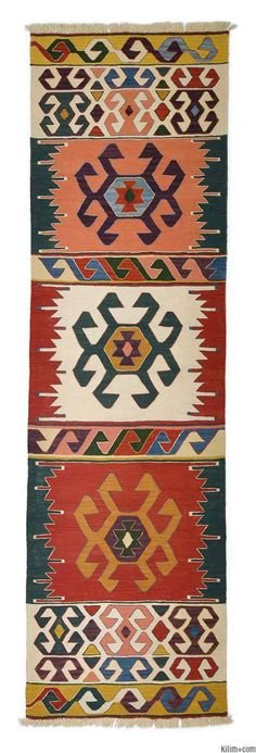 New Turkish Kilim Runner hand-woven with vegetable-dyed and hand-spun wool.